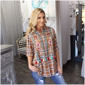 Plaid button down embroidered top